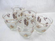 1950s Vintage Libbey Gold Leaf Frosted Glass by SecondWindShop, $15.00