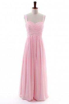 Pink Sweetheart Chiffon Long Bridesmaid Dress with Straps