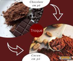 Troque o chocolate em pó pelo cacau em pó, que tem menos açúcar (ou nenhum), mais nutrientes e mais cacau, que é rico em antioxidantes e cuida da saúde do coração. #Feinkost #TrocaSaudável #CacauEmPó