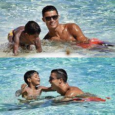 Cristiano Ronaldo with his son in the Bahamas.