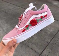 pink, rose, and vans kép