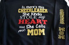 A personal favorite from Bows 2 Toes Etsy shop… Football Cheer, Cheer Camp, Cheer Coaches, Cheer Mom Shirts, Sports Shirts, Family Shirts, Cheer Gifts, Cheer Bows, Cheer Quotes