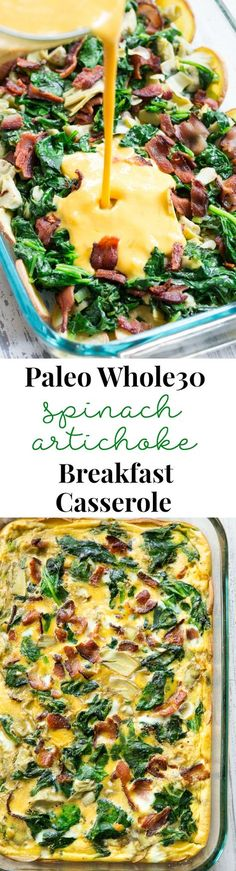 This spinach artichoke breakfast casserole starts with an easy roasted sweet potato crust and is loaded with veggies, bacon, and flavor! Whole 30 Breakfast, Breakfast Casserole, Healthy Breakfast Recipes, Paleo Recipes, Free Breakfast, Breakfast Spinach, Breakfast Healthy, Breakfast Dessert, Breakfast Ideas