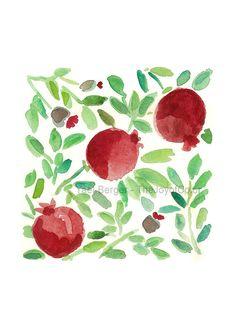 3 pomegranates art print Pomegranate by TheJoyofColor on Etsy