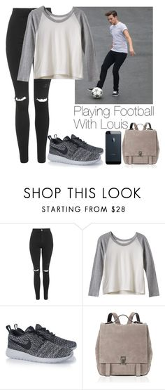 """""""Playing football with Louis"""" by lovatic92 ❤ liked on Polyvore featuring Topshop, RVCA, NIKE and Proenza Schouler"""