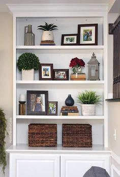 family room built in shelving like the proportions lantern and pictures bookshelf decor Styled Family Room Bookshelves Decorating Bookshelves, Bookshelves Built In, Built Ins, Bookcases, How To Decorate Bookshelves, Arranging Bookshelves, Bookshelf Ideas, Book Shelves, Book Shelf Decorating Ideas