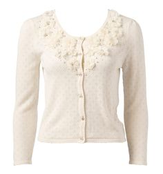 White floral cardie (daisy wheel flowers?)