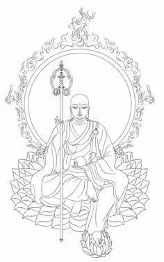 地藏王菩薩白描佛像 -