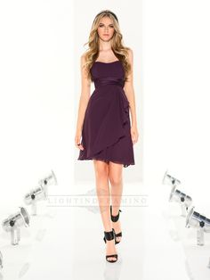 Strapless Knee Length Bridesmaid Dress with Shirred Empire Bodice Column Skirt