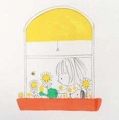 I love flowers, planting and gardens Doodle Drawings, Cartoon Drawings, Doodle Art, Cute Drawings, Drawing For Kids, Art For Kids, Art Challenge, Children's Book Illustration, Watercolor Print