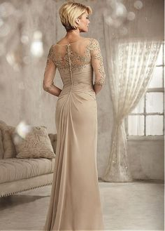 Buy discount Romantic Chiffon V-neck Neckline Sheath Mother Of The Bride Dress With Lace Appliques at Magbridal.com