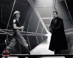 Mark Hamill and Bob Anderson working behind the scenes .