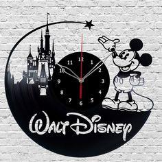 Walt Disney Mickey Mouse Vinyl Wall Clock Made Vinyl Record Original gift #Handmade