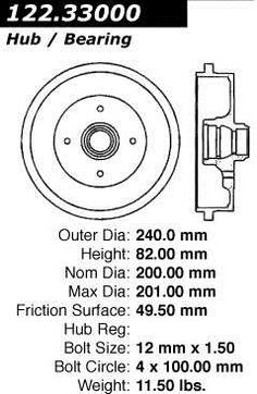Brand:Centric Part Number:122.33000 Category:Brake Drum Price :$27.95 2Years Warranty