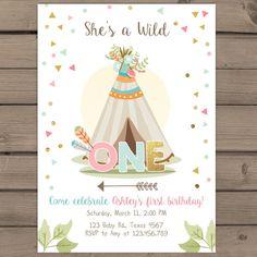 Wild One Birthday Invitation Wild One party invitation Arrow