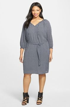 Plus Size Dress - Cotton Peasant Dress (Plus Size)