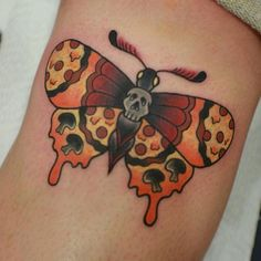 Pizza moth by @roxyryder  Tag us in your pizza tattoos: @pizzatattoos #pizzatattoos