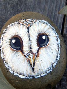 Sweet BARN OWL Acrylic Painted Beach Stone by LotusandNightshade