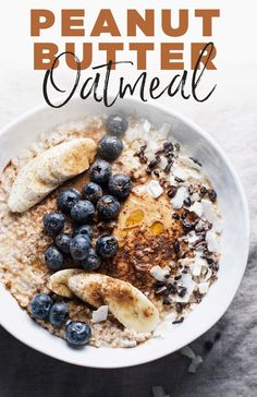 Peanut Butter Oatmeal is a YUMMY and healthy breakfast to start any day with. An easy oatmeal recipe that takes 5 minutes to make! A vegan and gluten free friendly breakfast. The Oatmeal, Oatmeal Diet, Baked Oatmeal, Yummy Oatmeal, Oatmeal Porridge, Oatmeal Cake, Vegan Oatmeal, Breakfast Bowls, Best Breakfast