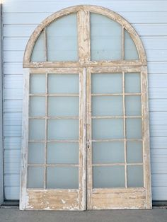 24 Pane Pair of French Doors with Half-Round Transom Overall Dimensions Wide x High Glass French Doors, Glass Doors, Shutter Doors, Antique Doors, Wood Doors, Shutters, Future House, Solid Wood, Cottage