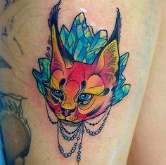 follow the colours neotradicional tattoo friday Katie Shocrylas gato cristal