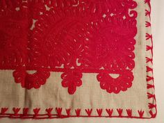 Kalotaszeg hand made Hungarian embroidered red floral pillow
