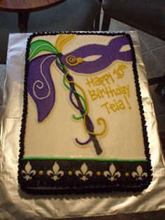 Mardi Gras Birthday Cakes | mardi gras cake for a 10th birthday party it was a vanilla cake that ...