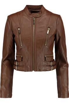 MICHAEL MICHAEL KORS Cropped Leather Biker Jacket. #michaelmichaelkors #cloth #jacket