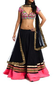 Black Rawsilk Lehenga with Neon Pink