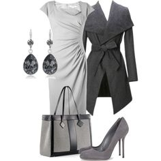 """""""grey mood"""" by chebotars on Polyvore. Coat not needed!"""
