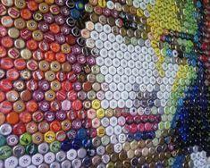 Bottlecap Art at Vendetta; Yes, my bottle cap collection will eventually be put to good use. Bottle Top Art, Bottle Cap Table, Diy Bottle Cap Crafts, Bottle Cap Projects, Garrafa Diy, Homemade Art, Beer Caps, Mural Wall Art, Recycled Art