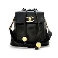 Chanel: Large Black Lambskin Vintage Drawstring Shoulder Bag w/ Front... ($895) ❤ liked on Polyvore featuring bags, backpacks, accessories, chanel, bolsas, chanel shoulder bag, draw string bag, draw string backpack, backpack bags and vintage shoulder bag