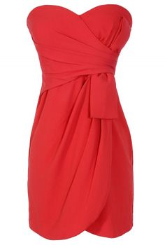 Annabelle Strapless Chiffon Designer Dress in Red #strapless #dress #dinner #date #party #holiday #dressy