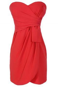 Annabelle Strapless Chiffon Designer Dress in Red  www.lilyboutique.com