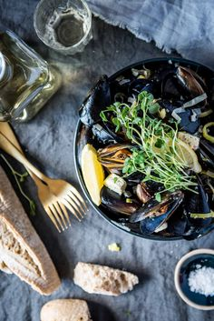 Butter and White Wine Mussels with Lemon and Snow Pea Sprouts   Chew Town Food Blog