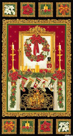 "Holiday Hearth - Picturesque Christmas - 24"" x 44"" PANEL"