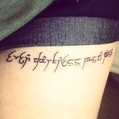 """Elvish-style """"even darkness must pass"""" LOTR tattoo Lotr Tattoo, Get A Tattoo, Barcode Tattoo, Tattoo Ideas, Tattoo Designs, Bone Tattoos, Finger Tats, Literary Tattoos, Tattoo Parlors"""