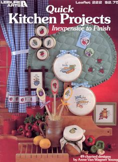 Quick Kitchen Projects by Anne Van Wagner Young - Leisure Arts Leaflet 222 (cross stitch) |  Craft Book by breezysbooks on Etsy
