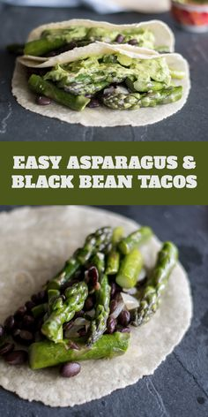 Easy Asparagus and Black Bean Tacos are the perfect taco for spring! #vegan #tacos #Mexican #asparagus #spring #dinner #easy #avocado #beans #blackbean #entree #glutenfree