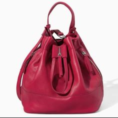 Zara Red Bucket Bag Gently used purse from Zara! No scratches or marks but slight discoloration at the bottom due to use (Photo 4). Inside has no marks or signs of excessive wear! Zara Bags Hobos