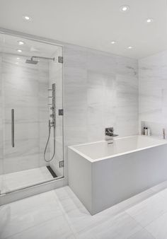 140 Charles Street NYC, New York #bathroom #newyork #design Beautiful classic but modern bathroom, freestanding bath, marble tiles
