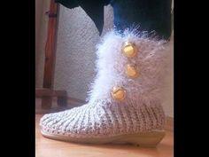 Tips y reflexiones para la vida: BOTAS TEJIDAS ESTILO CROCHET Love Crochet, Diy Crochet, Crochet Baby, Crocodile Stitch, Loom Bands, Crochet Videos, Crochet Slippers, Crochet Accessories, Yarn Needle