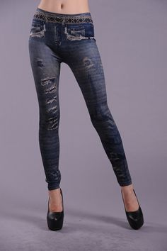 Blue Fashion Assembled Thick Legging