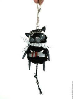 Купить Кот- пилот. Брелок. - черный, кот, авторская работа, брелок, ручной работы, игрушка