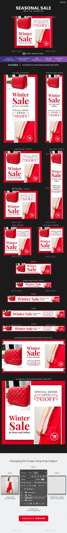Buy Seasonal Sale Web Banner Set by Kimp_io on GraphicRiver. Promote your Products and services with this great looking Banner Set. Muse Widgets, Facebook Ad Size, Fashion Banner, Cool Themes, Drupal, Banner Template, Psd Templates, Website Template, Web Banners