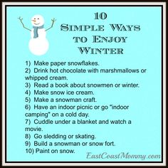 These are fantastic ideas, and this website has helpful and informative links to the activities and crafts.
