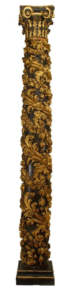Important Set of Four Monumental Italian Rococo Gilt Carved Columns