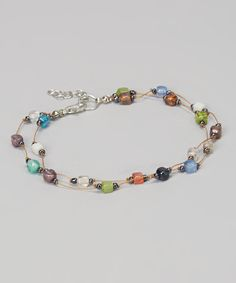 Loving this ZAD Rainbow Mosaic Bead Ankle Bracelet on #zulily! #zulilyfinds