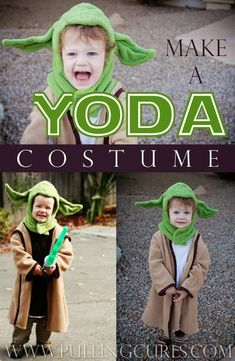 How I made a yoda costume from scratch.  Takes a bit of imagination and creativity, but doable -- and OH so cute on your favorite preschooler/toddler.  This yoda costume can be adjusted for any size!