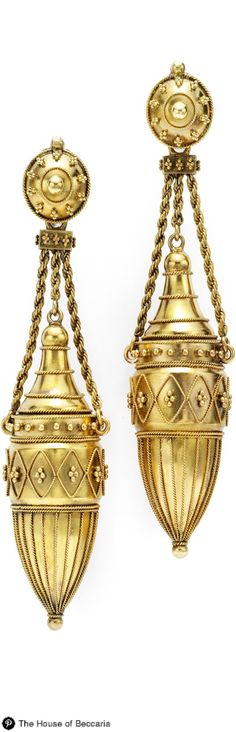 ~Etruscan Revival 18k Gold Ear Pendants. Each Urn-Form Drop with Applied Bead and Rope Work Accents is Suspended by Rope Twist Chains | The House of Beccaria